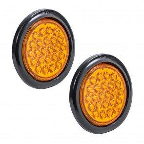 "2pc 4"" 24-LED Round Tail Light - Amber"