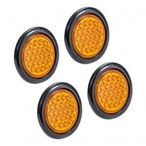 "4pc 4"" 24-LED Round Tail Light - Amber"