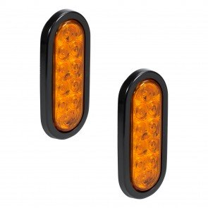 """2pc 6"""" 10-LED Oval Tail Light - Amber"""