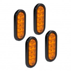 "4pc 6"" 10-LED Oval Tail Light - Amber"