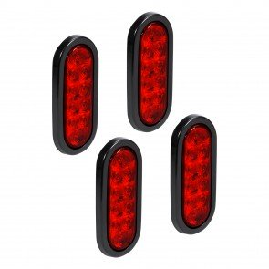 """4pc 6"""" 10-LED Oval Tail Light - Red"""