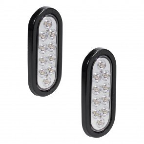"2pc 6"" 10-LED Oval Tail Light - White"