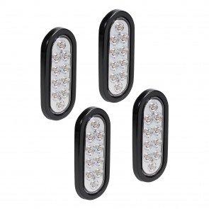 "4pc 6"" 10-LED Oval Tail Light - White"