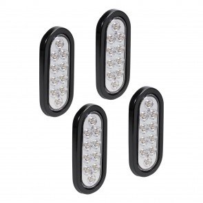 "4pc 6"" 10-LED Oval Tail Light - White"