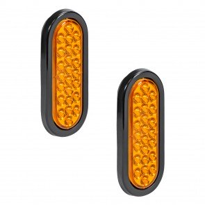 """2pc 6"""" 24-LED Oval Tail Light - Amber"""