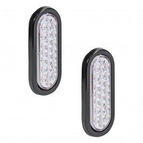 "2pc 6"" 24-LED Oval Tail Light - White"