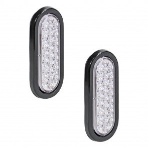 "2pc 6"" 24-LED Oval Tail Light - White"