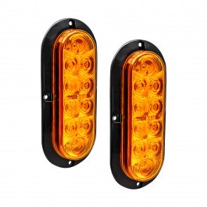 """2pc 6"""" 10-LED Oval Surface Mount Tail Light - Amber"""