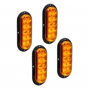 """4pc 6"""" 10-LED Oval Surface Mount Tail Light - Amber"""