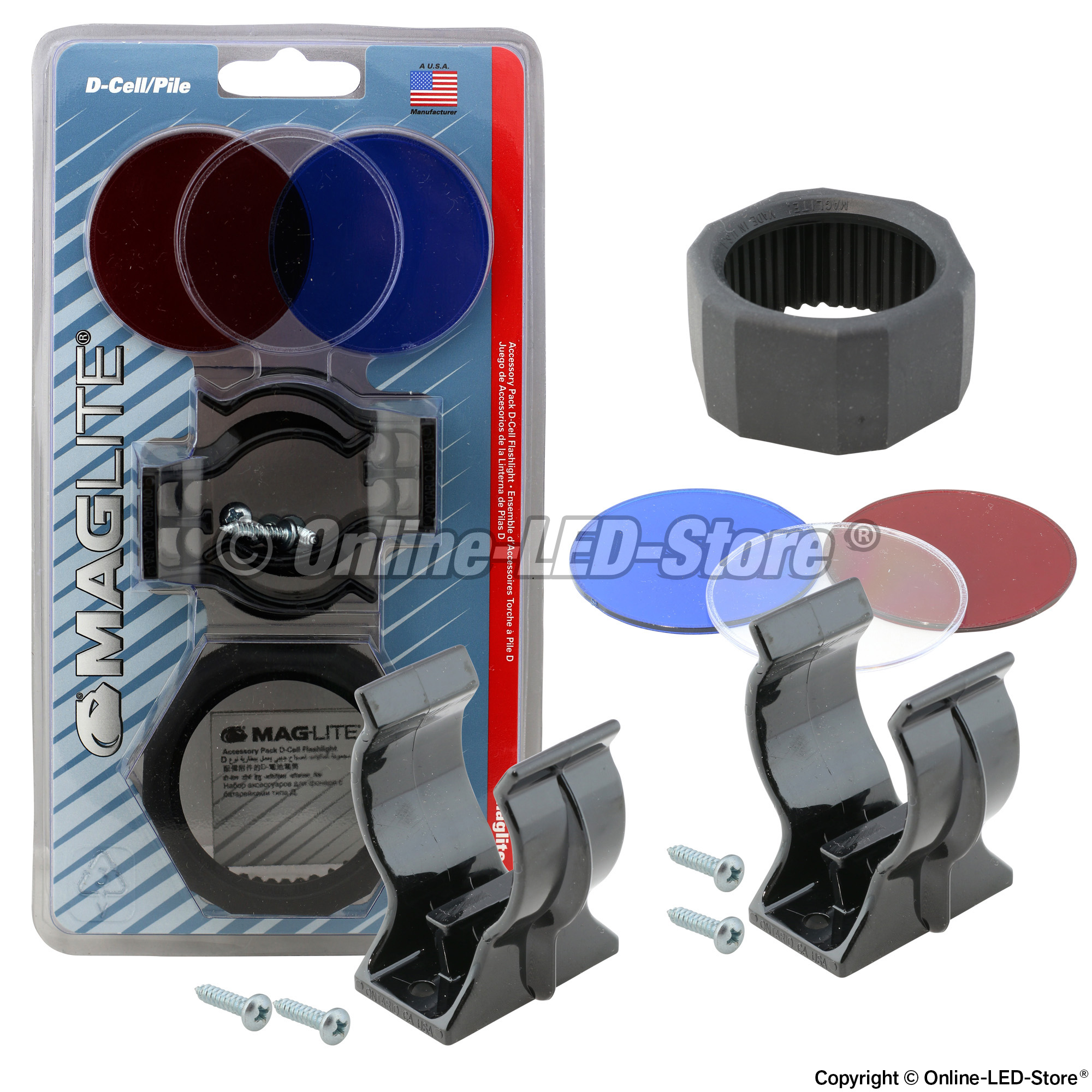 Maglite D Cell Accessories Pack Red Clear Blue Lenses