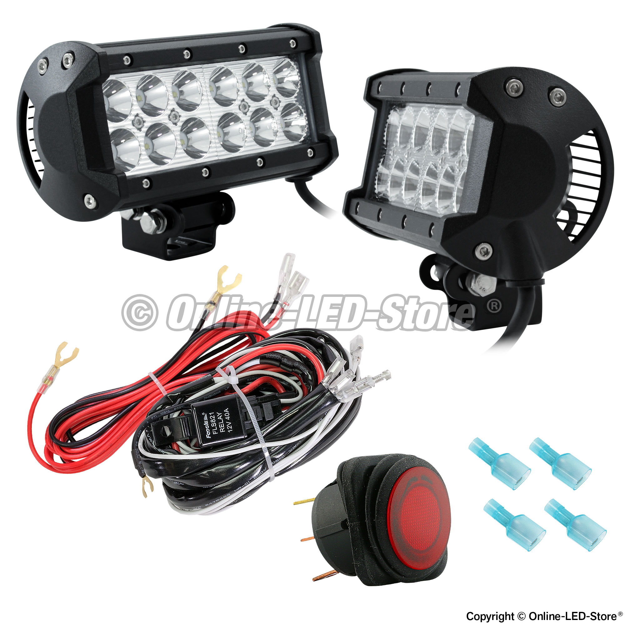 Led snow plow lights snow plow headlights online led store 2pc lamphus cruizer crlb12 65 36w off road led light bar wiring harness kit mozeypictures Choice Image