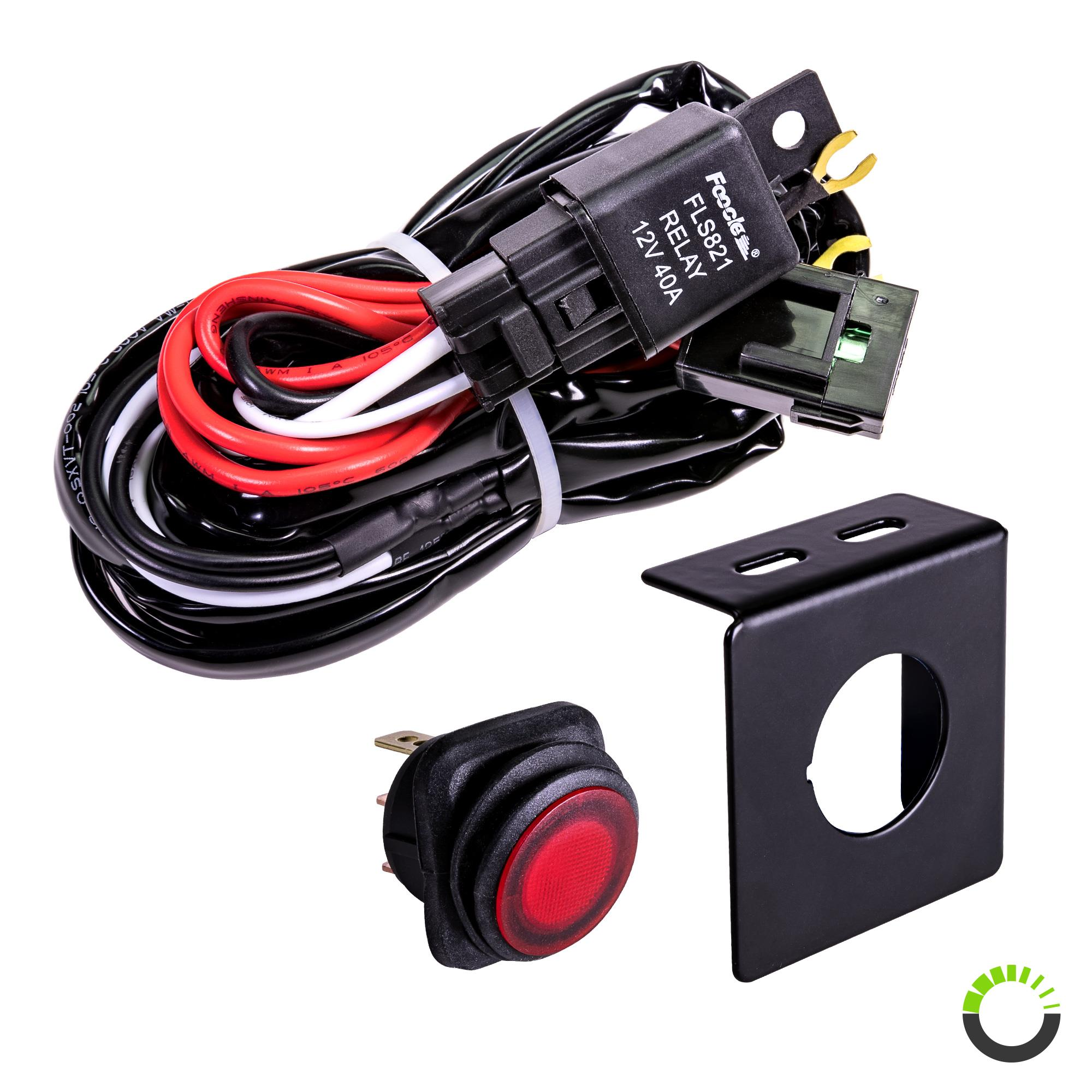 cruizer 8ft 30 40a relay 30a fuse 1 2 wiring harness w 25a spst on off rocker switch red led light wiring harness with switch and relay light wiring harness #10