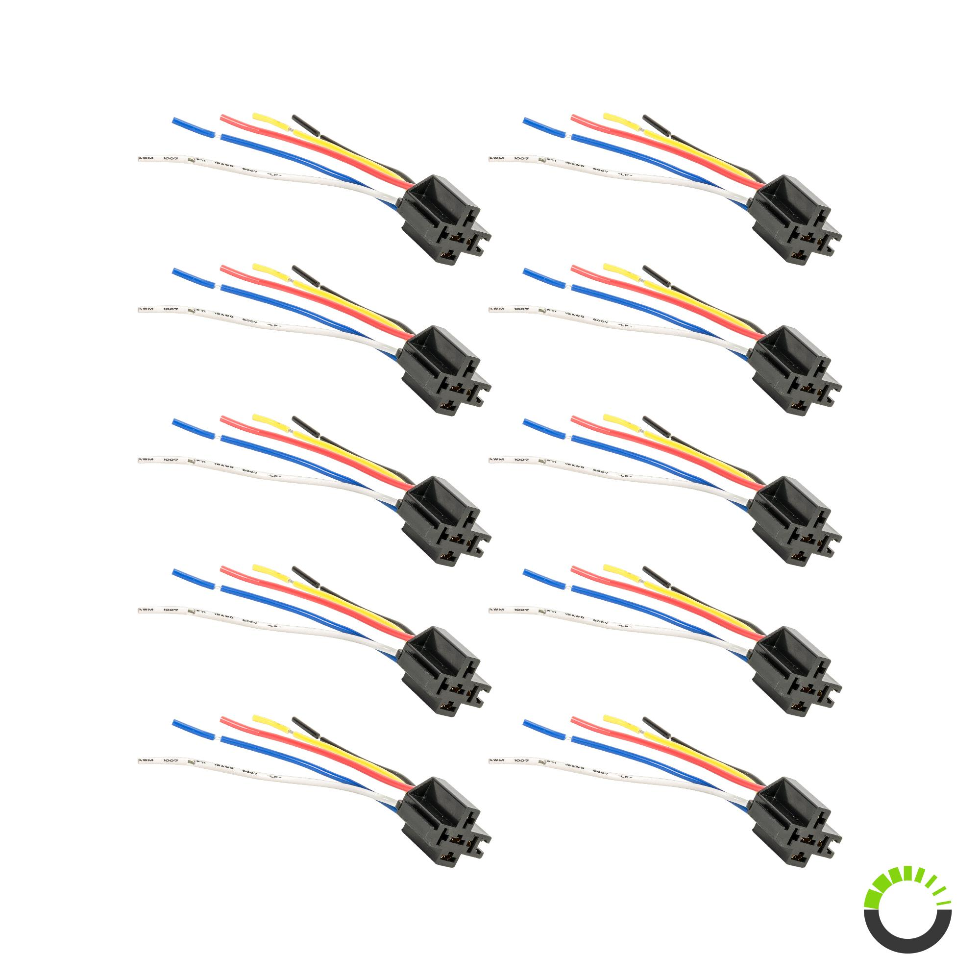 Ols Bosch Style 5 Pin Spdt Interlocking Relay Socket Harness Base With Wires Pack Of 10 Pszacceps132r X10