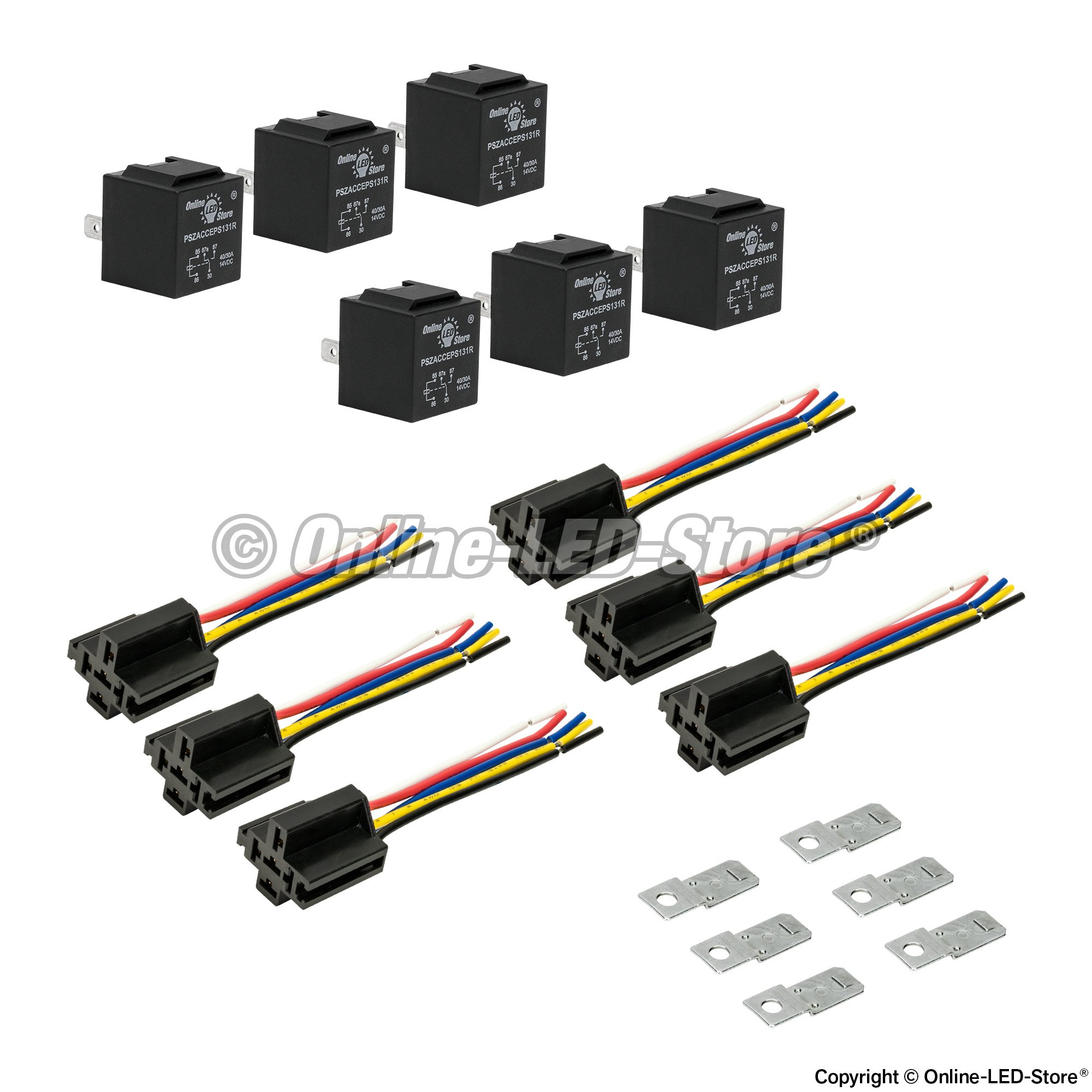 Ols 12v 3040   5 Pin Spdt Bosch Style Electrical Relay Harness Set Pack Of 6 Pszacceps175r Pszacceps175r on electrical switches for cars