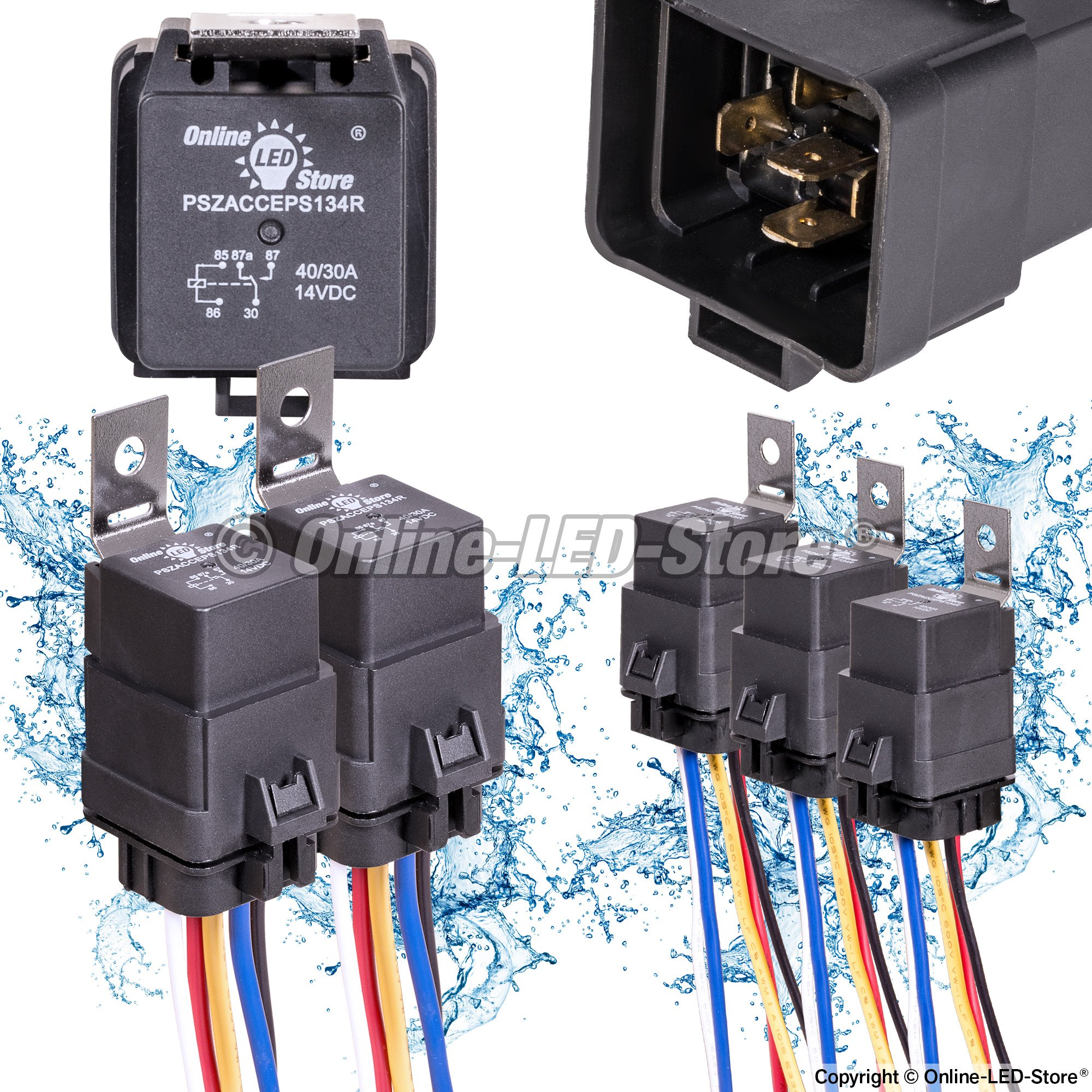 ols 12v 40 30 amp 5 pin spdt bosch style waterproof electrical relay harness set pszacceps177r xx. Black Bedroom Furniture Sets. Home Design Ideas