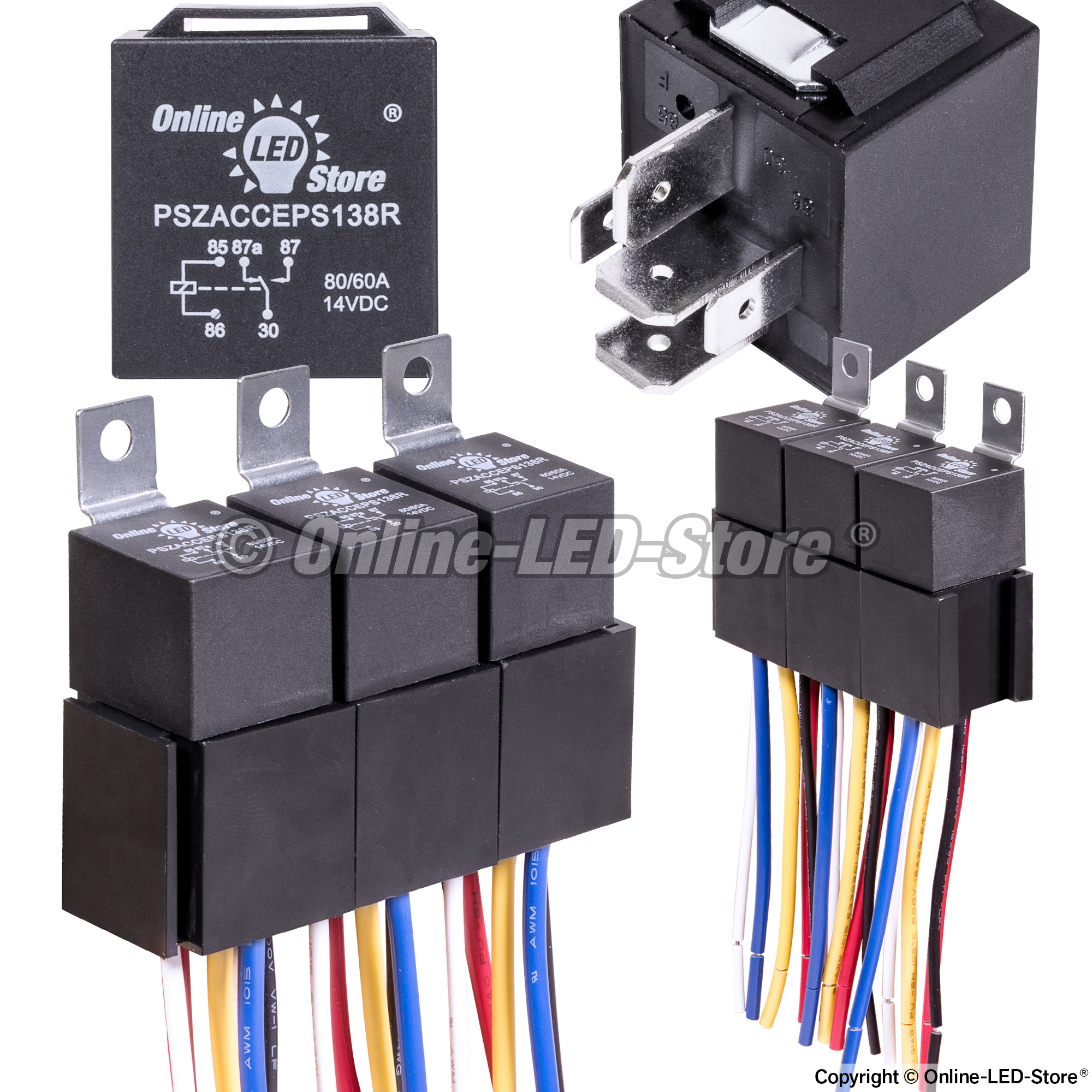 ols 12v 80 60 amp 5 pin spdt bosch style electrical relay harness set pack of 5 pszacceps180r. Black Bedroom Furniture Sets. Home Design Ideas