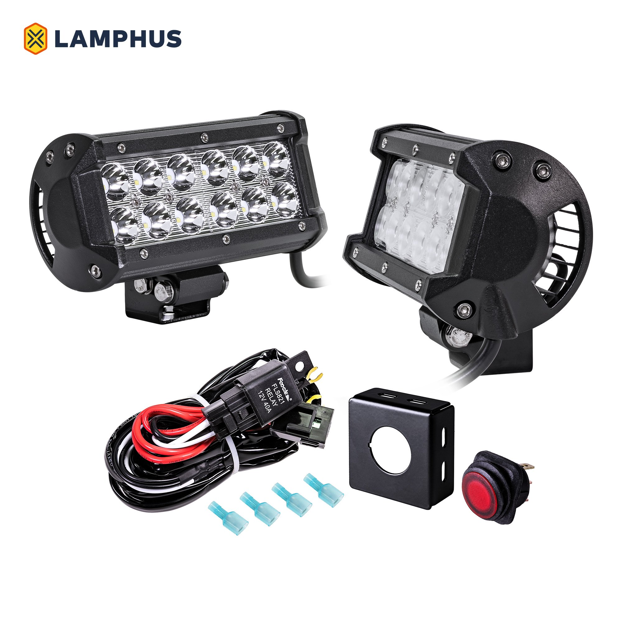 5 Inch Off Road Lights Lighting Kit Rocker Switch Spst X2 With Red Green Indicator Lamps