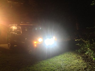 Lee Marsalko Jeep with off road lights at night